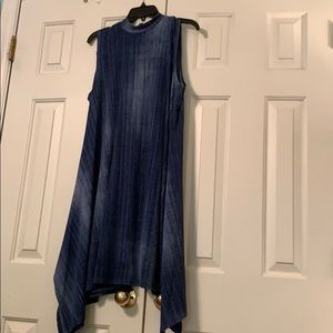 Denim print mock neck dress. Large